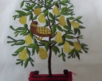 partridge in a pear tree  cotton towel