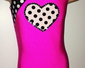 Gymnastics Biketard with Heart Applique. Toddlers Biketard. Dancewear. Gymnastics Leotard. SIZES  2T - Girls 10