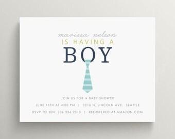 neck tie baby shower invitation set // birthday invitation // thank you note // first birthday // little man party // boy baby shower