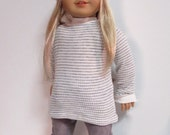 """18"""" doll clothes - Grey and white waffle knit topand Soft Grey Cords fits 18"""" dolls like American Girl, Maplelea"""