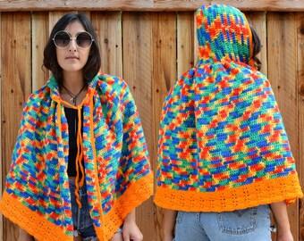 Vintage 70s HANDMADE KIDS Crochet CAPE