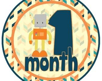 Orange and Blue Robot Monthly Baby Milestone Stickers