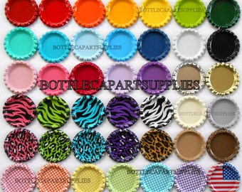 100 FLAT Color Mix Bottle Caps DOUBLE Sided Painted Linerless Brand New Flattened Caps, You Choose the Colors