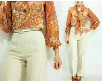 50% OFF SALE... Vintage 70's Cream Linen Ultra High Waisted Pants Trousers / Straight Leg Pants / Hip Hugger Pants