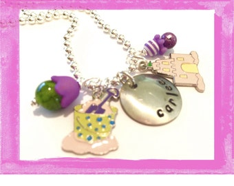 Personalized Charm Necklace - Sand Castle Beach Bucket - Custom Necklace for Children - Jewelry Charms Summer #Q37