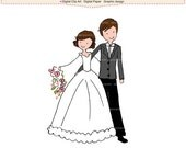 ON SALE doodle drawing clip art clipart - Wedding bride groom clip art, wedding clip art, married clip art, Brides clipart, cute doodles cli