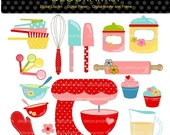 ON SALE Baking clipart , Digital clipart for all use, Kitchen, bakers, Mixer, cooking, clipart, INSTANT Download