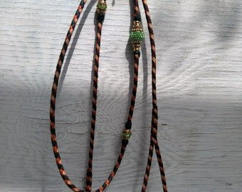 Braided Kangaroo Leather Dog Show Lead  - Brandy/Saddle Tan/Natural/ Hunter Green - 40""