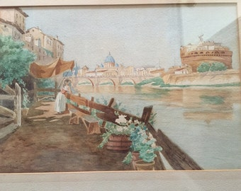 Vintage watercolor of Romes St Peters Basilica