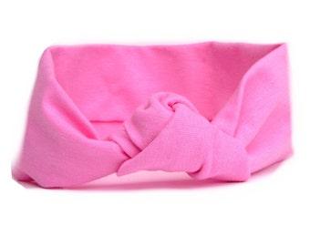 Headband- Bubblegum Pink Knotted Jersey Knit Headband