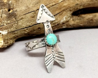 Sterling Silver Turquoise Ring, King-man Blue Turquoise Arrow Ring, Bohemian Jewelry for Women, Southwestern Jewelry