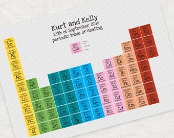 periodic table of elements seating chart - printable file - custom science geek seating plan, seating assignment, poster personalised unique