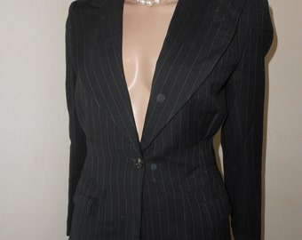 Woman's 80's Black Pin-Striped Business Suit w/A Line Skirt - Size M
