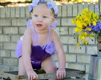 Purple/ Lavender Romper - Baby Romper - Purple Girls Sunsuit - Baby Bubble Romper -Vintage Romper- Ruffle Romper - Romper - Vintage inspired