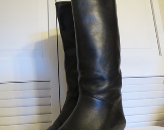 vintage Black Leather Tall Boots with Stacked Wood Heel by Ruggeri -  size 7 1/2 Medium