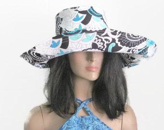 White Black Turquoise Wide Brim Sun Hat