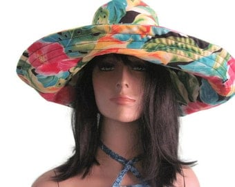 Black Floral print Wide Brim SunHat Womens