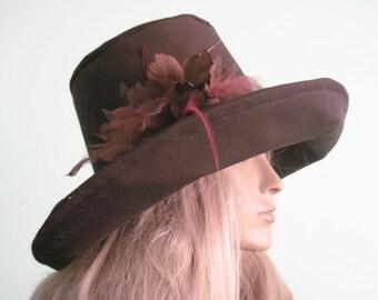 Wide Brim Brown Hat with Flower Trim  Bohemian Beach Hat Pool Hat