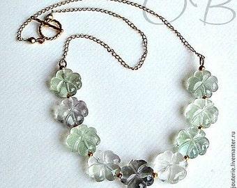 Artisan Fluorite Flower Necklace set