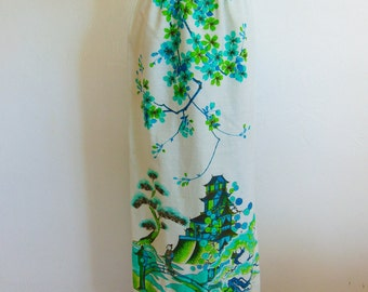 60s Alfred Shaheen maxi skirt PAGODA print size medium
