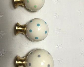 Polka Dotted Ceramic Ball Lamp Finial - Ivory White With Polka Dots - Choose From 21 Colors - 3 Sizes - Made In The USA