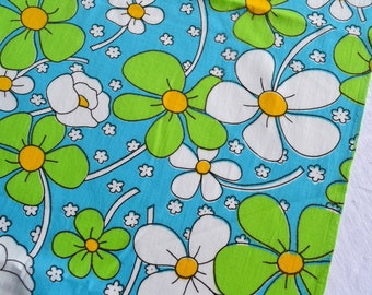 Vintage Fabric - Mod Daisies on Turquoise - By the Yard