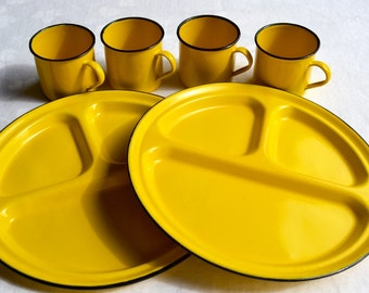 Vintage Yellow Enamelware Divided Plates and Mugs