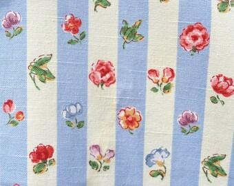 Vintage Fabric - Kaufmann Blue Stripe Cottage Floral Upholstery - 56 x 36