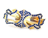 Art Deco Rhinestone Duette | Blue Dress Clip Separable Brooch | Vintage 1930s Jewelry