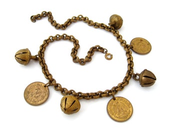Vintage 1945 Mexican Centavo Coin & Bells Charm Necklace, Brass-tone Dangle Choker, 1940s Costume Jewelry