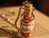 ON SALE Glass Vial Necklace - Romeo & Juliet - Gift for Her - Shakespeare