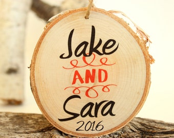 Wedding Gift  - Wedding Present - Gift for Couple Mr and Mrs Ornament - Personalized Wood Ornament - Wedding Gift - XMAS039