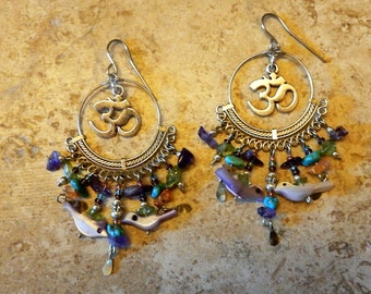 Chakra Ohm Hoop  Chandelier Earrings with genuine gemstones