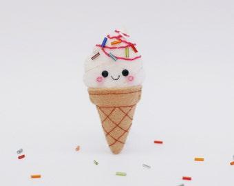 Vanilla Ice Cream with Strawberry Sauce Felt Pin, Felt Brooch