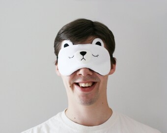 Polar Bear Sleep Mask, Cute Relaxing Eyewear with Adjustable Elastic