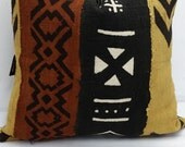 RTS African mudcloth bogolanfini accent pillows, 16 x 16 inches, black ivory brown beige mud cloth 523