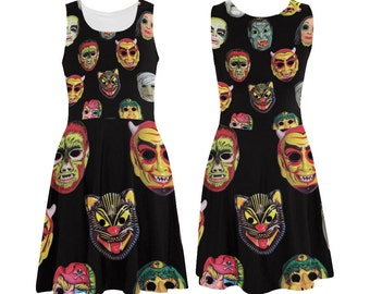 Vintage Halloween Masks Skater Dress - printed flared tank dress - women's Halloween dress - photographic vintage masks dress - USA XS-3XL