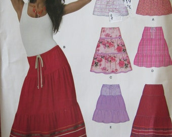 New Look 6943 Uncut Sewing Pattern Misses 8-18 Misses Tiered Skirts