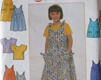 Simplicity 8048 Uncut Sewing Pattern Little Girls Sundress or Jumper, Romper, Tshirt Top Size 3-4-5-6, 1998
