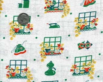 Vintage Feedsack Novelty Cotton QuiltingFabric //  YELLOW, GREEN and Orange Aprons, Tiny Flower Boxes, Kitchen Appliances: 36 x 23