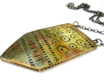 SALE Glance Tag Necklace - Jewellery Necklace, Tribal Unique Handmade Ceramic Art Jewelry No. 328