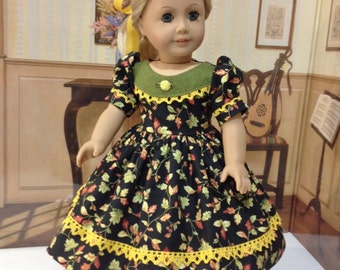"""Reserved for Penny  do not purchase  AG  """"Harvest Breeze"""" fall dress and slip for 18 inch doll fits American girl and similiar dolls"""