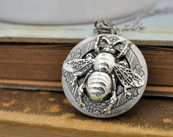 silver locket necklace, BEE HAPPY LOCKET, antique silver bumble bee locket necklace