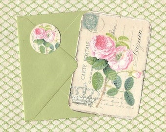 Roses, Note Cards, Rose Postcard Cards, Gift, Stickers, Flat Rose Note Cards