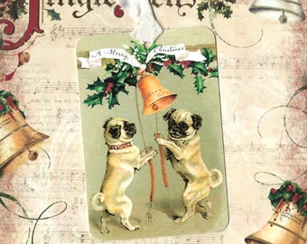 Christmas, Gift Tags, Dog, Merry Christmas Tags, Pugs, Dog Gift Tags