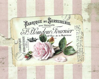 Tags, Rose Gift Tags, French Style, Party Favors, Pink Rose, Vintage Style, Gift Tags