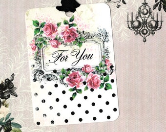 Gift Tags, Roses, Vintage Style, For You, Elegant, Party Favors
