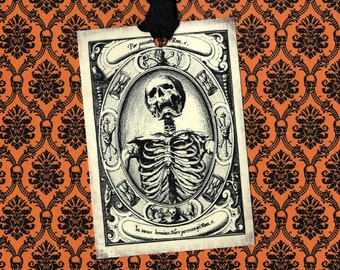 Halloween, Eerie Skeleton, Vintage Style Tags, Macabre, Skeleton Tags