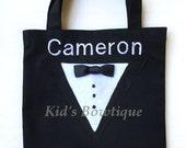 Monogramed Tuxedo Gift Bag - Tuxedo Wedding Ring Bearer Gift Bag - Unique Wedding Gift Idea