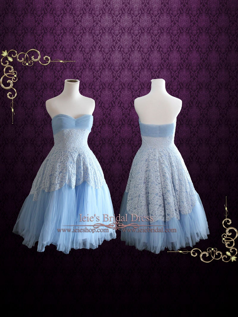 Retro 50s Blue Tea Length Prom Dress Short Homecoming Dress